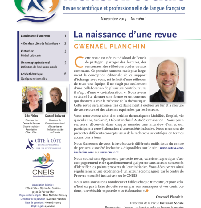 Revue N°1 INCLUSION SOCIALE – Revue scientifique et professionnelle en langue française».