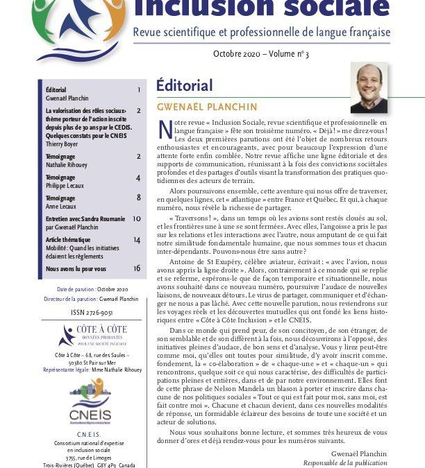 Revue N°3 INCLUSION SOCIALE – Revue scientifique et professionnelle en langue française».
